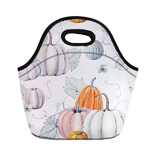 Semtomn Neoprene Lunch Tote Bag Pattern Watercolor Pumpkins It Is Thanksgiving Halloween Recipe Fall Reusable Cooler Bags Insulated Thermal Picnic Handbag for Travel,School,Outdoors,Work -