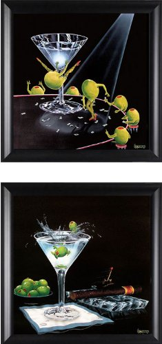 - Olive Party II & Even Dirtier Martini Michael Godard (2 Picture Set) Framed Print