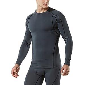 Tesla TM-MUD11-CHC_Large Men's Long Sleeve T-Shirt Baselayer Cool Dry Compression Top MUD11