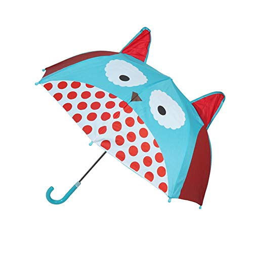 (Wustrious Children's Cartoon Umbrella, Rainproof Sunscreen Long Handle Eight Bone Automatic Umbrella Ear Umbrella, Creative Three-Dimensional Design and Many Styles)
