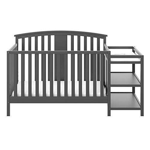 Storkcraft Greyson 4-in-1 Convertible Crib and Changer Gray, Fixed Side Crib, Solid Pine and Wood Product Construction, Converts to Toddler Bed Day Bed or Full Bed (Mattress Not Included)