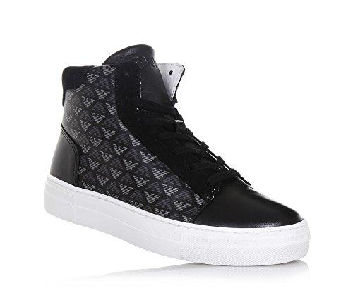 ARMANI - Schwarzer Sneaker mit Schnürsenkeln aus Leder, seitlich ein Reißverschluss, Jungen