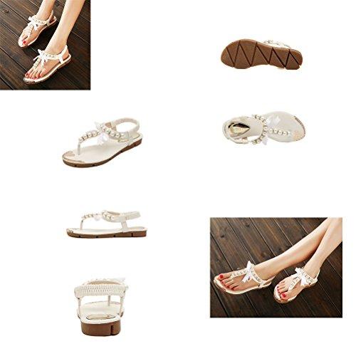 Noir Chaussures Et En T Nœuds Perles Donalworld Forme Pour Femme D'été Avec PBRw4dq4x