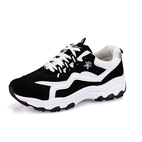 Semelles amp;g Femmes Sneaker Up Épaisses Baskets Lace Studenthoes Femelle Black Chaussures Plates Respirantes Ngrdx Femme ATnSwcqq