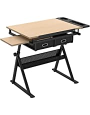 SogesGame Height Adjustable Drafting Desk - Drawing Table with 2 Storage Drawers & Stool for Painting Sketching Art Craft