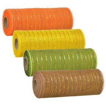 Set of 4 Autumn Fall Decorative Harvest Mesh, 5-Yd. Rolls Thanksgiving Harvest Pumpkin Leaves Gel Window Cling Decorations Mesh Rolls (Nemo And Dory Diy Costumes)