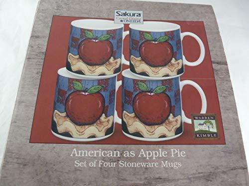 (Warren Kimble American as Apple Pie Set of Four Stoneware Mugs Sakura Casual Dining)
