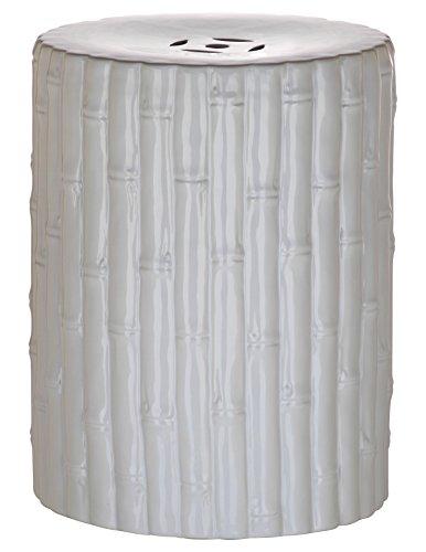 Safavieh Castle Gardens Collection Glazed Ceramic White Bamboo Garden Stool