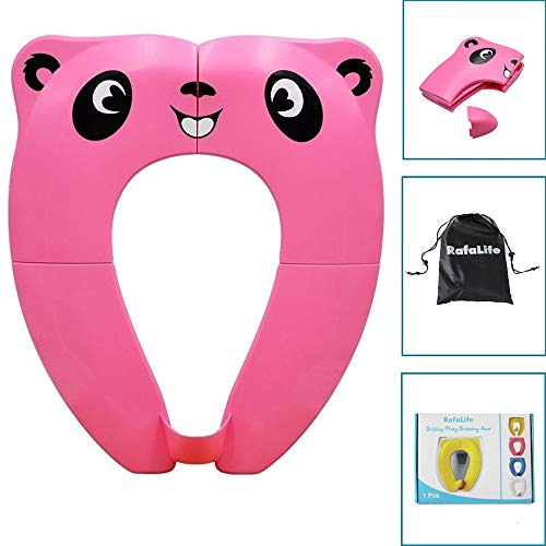 RafaLife – Portable Toilet Training Seat for Toddlers, Boys & Girls. Large Upgraded Folding Travel Potty Seat. Extra Stable, Powerful and Safe, with Handy Carry Bag – Pink Panda