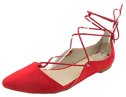 Sexy Ballet Flats - Styluxe Women's Lake-18 Lace Up Gladiator Lace Up Pointed Toe Flat (7 B(M) US, Red)