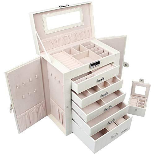 Homde 2 in 1 Huge Jewelry Box/Organizer/Case with Small Travel Case, Gift for Girls or Women (White Wood Grain)