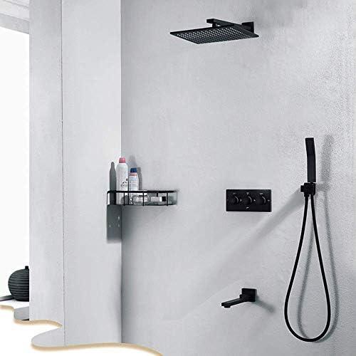 隠されたシャワーの蛇口セットすべての銅のホットとコールドの3機能埋め込みボックス10インチトップスプレーブラックバスルームシャワー
