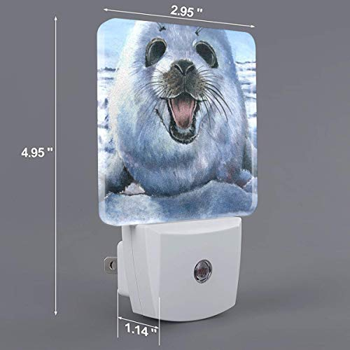HOKICGR Harp Seal Painting Wallpaper Print Plug-in Lamp with Dusk to Dawn Sensor Auto On/Off LED Night Light,Nightlight Perfect for Bedroom, Bathroom, Kitchen, Hallway, Stairs, Daylight White
