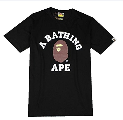 Men Girls Kids BAPE Camouflage Short Sleeve A Bathing Ape Shark Head Round Collar T-Shirt (XL, Black) - Bape Ape