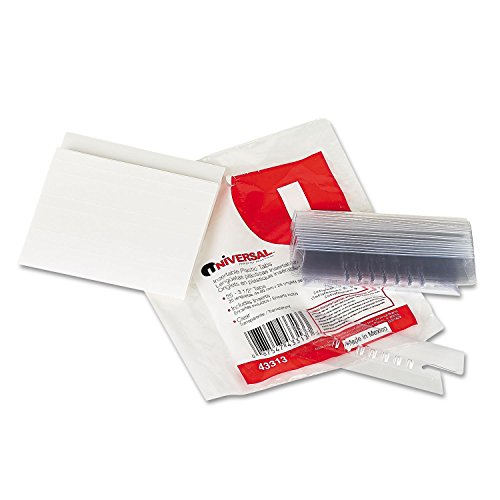 Universal 43313 Hanging File Folder Plastic Index Tabs, 1/3 Tab Cut, 3 1/2 Tab, Clear, 25/Pack - Hanging File Systems Type