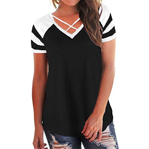 Wintialy Women Casual Criss Cross Front V Neck Short Sleeve Patchwork Blouse Tops from Wintialy women clothes