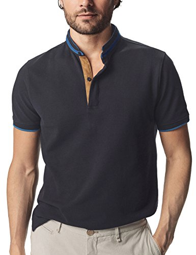 Navifalcon Polo T Shirts Short Sleeve Pique Cotton Navy Blue Polo Shirt for Men L - Collar Polo T-shirt