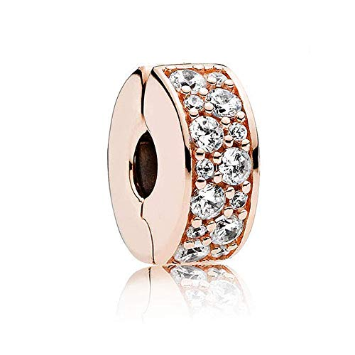 Romántico Amor Fit Pandora Bracelet Shining Elegance Clip Stopper Charm Rose Gold &Clear CZ Silver Bead