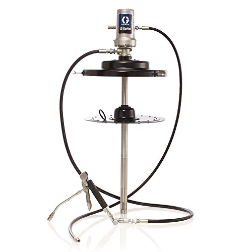 Graco 24J036 LD Series Air-Powered 50:1 Stationary Grease Pump, Package for 120 lb. Drum Includes 6' Hose Kit, Follower Plate, Drum Cover, Grease Valve and (Pump Drum Cover)