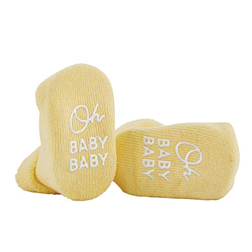 Stephan Baby Non-Skid Silly Socks with Cute Sayings, Yellow Oh Baby Baby, 3-12 Months