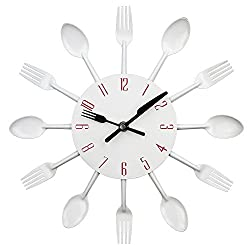 Kitchen Wall Clock, Timelike 3D Removable Modern Creative Cutlery Kitchen Spoon Fork Wall Clock Mirror Wall Decal Wall Sticker Room Home Decoration (White)
