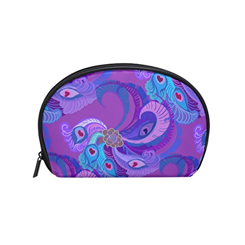 Dragon Sword Violet Purple Peacock Feathers Cosmetic Bag Travel Handy Organizer Pouch Makeup Bags Purse for Women Girls