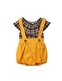 Jamlynbo Toddler Little Girls 2 Pieces Shirts Overall Shorts Set Plaid Top + Button Short Pants Outfit Sets