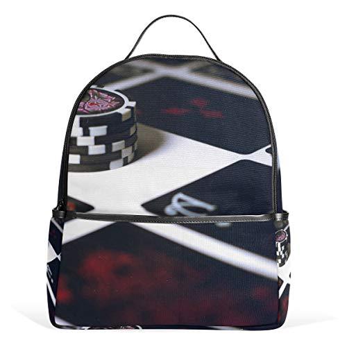 Backpack Poker Chip Art School Bags Daypack Bookbag Shoulder Laptop Book Bag for Womens Mens Teens Boys Girls Kid's (Best Laptop For Poker 2019)