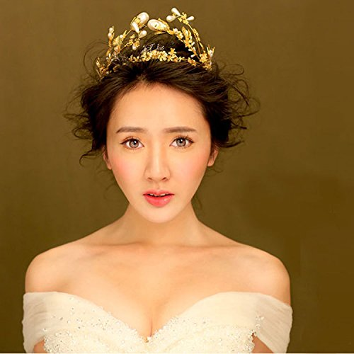Quantity 1x Siu_Ming_retro_ pearl Bridal Crown Tiara Party Wedding Headband Women Bridal Princess Birthday Girl Gift Headdress _shadow_floor_portrait_ style Wedding Hair (Ming Floor)
