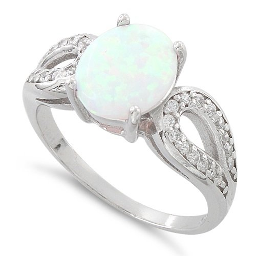 Sterling Silver Created White Opal Engagement Ring - Size 8