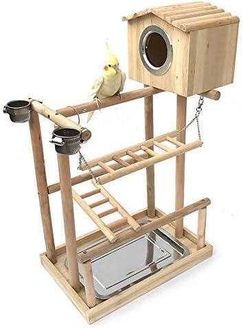 NO BRAND Mesa de Juego de pájaro, Cerca de Madera de Varias Capas, Gimnasio Sala de Entrenamiento (con Escalera, casa privada y la alimentación de Birdcage Soportes: Amazon.es: Hogar