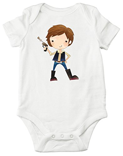 Aribella Collection Baby Boys Infant Toddler Han Solo Star Wars Inspired Bodysuit Size 12 Months Short Sleeve White Color