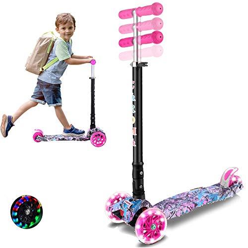 Caroma Kick Scooter - Ruedas intermitentes de poliuretano, 3 ruedas ajustables en altura, inclinable para dirigir, patinete de 3 ruedas para niños, niñas y niños de 2 a 14 años