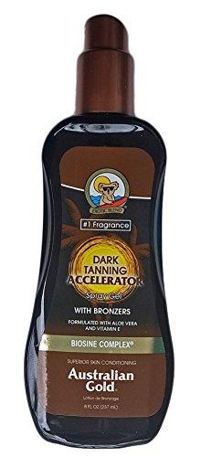 Australian Gold Dark Tanning Accelerator Spray Gel with Instant Bronzer 8oz (Accelerator Bronzer)