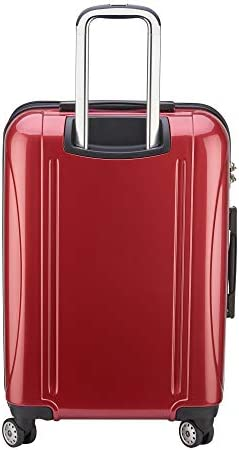 DELSEY Paris Helium Aero Hardside Expandable Luggage with Spinner Wheels, Brick Red, Checked-Medium 25 Inch