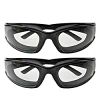 Haoun 2 Pack Onion Goggles Tear Free Kitchen Eye Glasses Onion Cutting Goggles with Inside Sponge (Black)