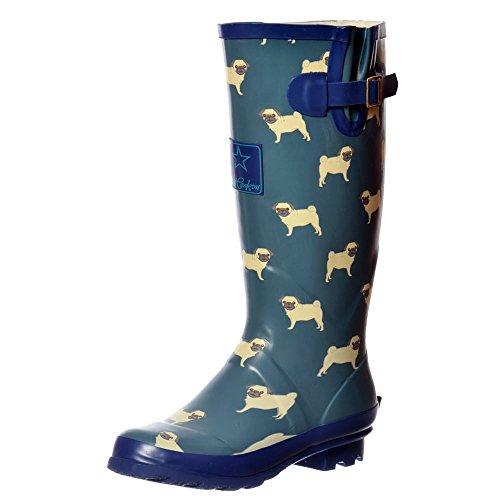 Onlineshoe FBA - Funky Flat Wellie Wellington Festival Rain Boots - Assorted Colours Pug Blue