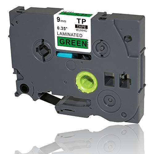 WJHHC 1PK Compatible for Brother P-Touch Laminated Tze-721 TZ 721 Label Tape Cartridge TZe-721 Black on Green 9mm x 8m