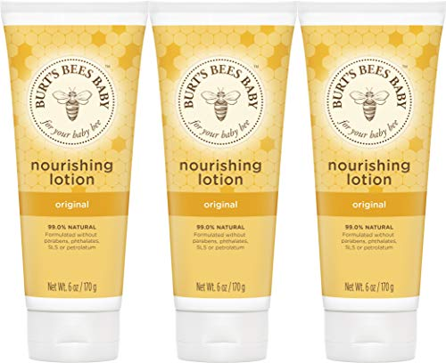 Burt's Bees Baby Nourishing Lotion, Original Scent Baby Lotion – 6 Ounce Tube – Pack of 3