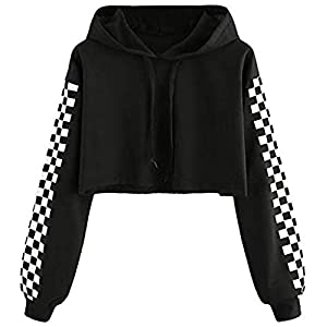 Funky Monkey Crop Hoodie with Checkered Pattern on Sleeves