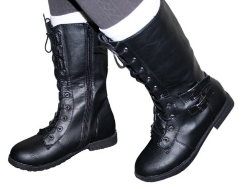 Military Heel Tall Fashion Womens Lace amp; Biker Up Black Flat zipper Army Combat Boots vvYqTxBwU