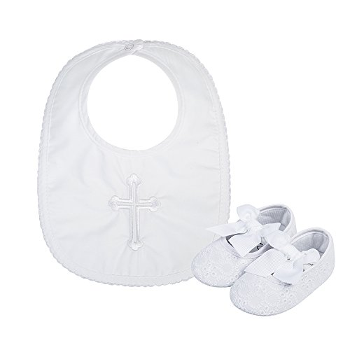 Christening Baby Bib (Baby Girls Premium Soft Sole Lace Bowknot Crib Shoes with Infant Embroidered Cross Chirstening Baptism Bib, 2 Pack, 6-12 Months)