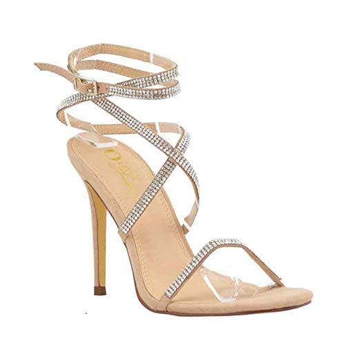 Olivia and Jaymes Women's Embellished Rhinestone Strappy Crisscross Ankle Strap Open Toe Stiletto Heel Sandal Shoes (6.5, Camel)