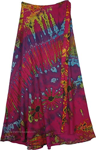 TLB - Pink Wrap Skirt with Blue and Purple Tie Dye with Blended Yellow Tones - L:38