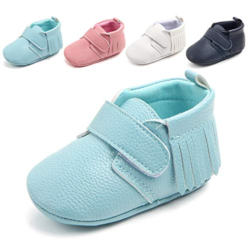 Cindear Infant Baby Boys Girls Soft Tassels Cirb Shoes Synthetic Leather Toddler First Walker Shoes Turquoise 0-6 Months]()
