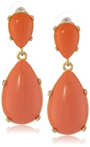 Kenneth Jay Lane Polished Gold and Coral Cab Drop Earrings