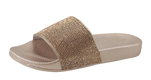 ANNA Bling Bling Rhinestone Embellished Single Band Slide Sandals Rosegold TOgmJmaAF