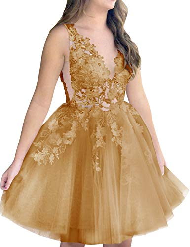Tulle Homecoming Deep Party Dress Lace Bridal Women Prom Gold Neck V s Short Bess Pv0twq