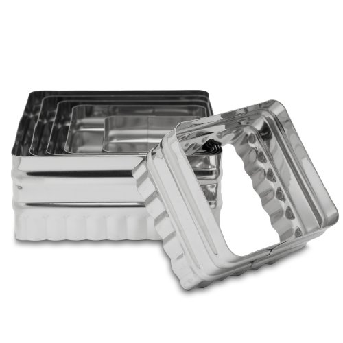 Ateco 52530 Double Sided Square Cutters in Graduated Sizes, Fluted & Plain Edges, Stainless Steel, 6 Pc Set