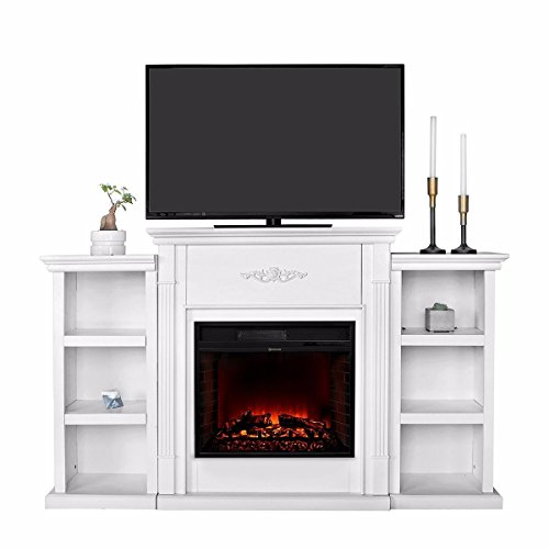Nice1159 New TV Stand Entertainment with Fireplace Open Shelves -Elegant Organization Ivory (Only 5 Sets Left)